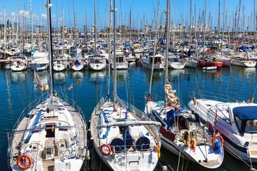 modern yachts docked