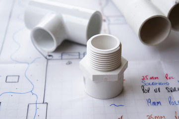 Irrigation and reticulation plumbing parts on reticulation plan.