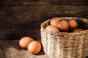 Still life eggs and basket composition