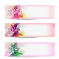 set of three vector abstract banner and transparent bubbles