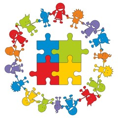 Children in Aktion ~ Kinder ~ Kids - Puzzle V2