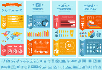 Flat Infographic Elements plus Icon Set. Vector EPS 10.