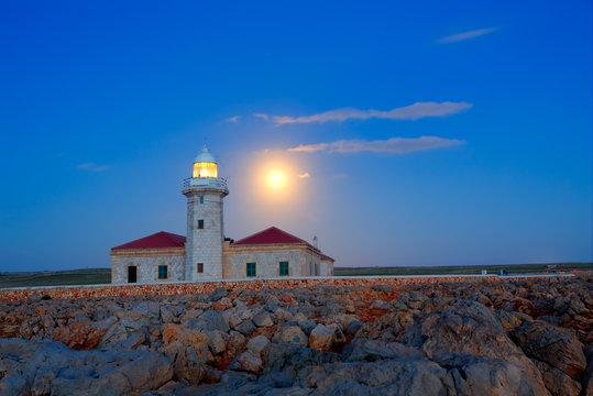 Ciutadella Menorca Punta Nati lighthouse moon shine