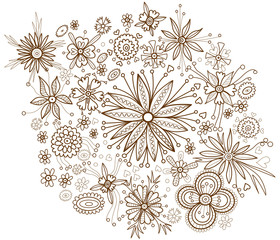 Decorative floral background with beautiful flowers (coloring bo