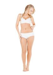 woman in white cotton underwear checking fat level