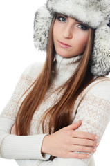 Beautiful girl in hat isolated on white background