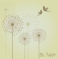 Decoration with dandelions and birds. Vector