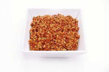 wholegrain mustard in dish isolated on white