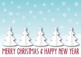 PK Papierschnitt Weihnachtsbaum blau
