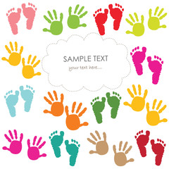 Baby footprint and hands kids greeting card vector