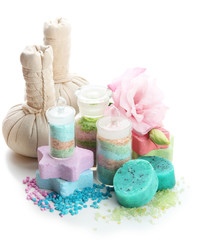 Wall Mural - Aromatic salts in glass bottles and herbal compress balls for
