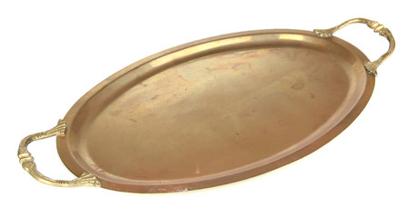 Antique gold tray isolated on white