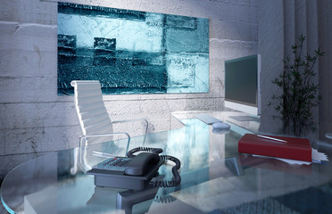 Modern office interior with glass desk and concrete wall