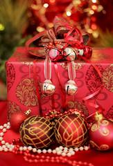 Christmas  decoration balls with present