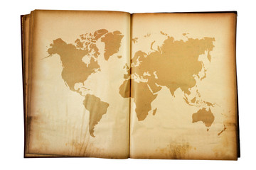 vintage map of the world on Old book isolated on white backgroun