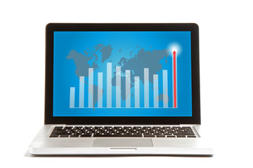 Laptop with higher graph isolated on white