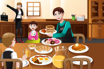 Stay at home father eating breakfast with his kids
