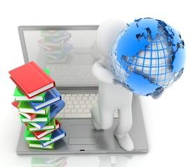 man, earth, laptop