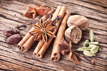 Spices on a old wooden table.