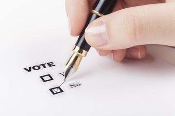Hand Vote No