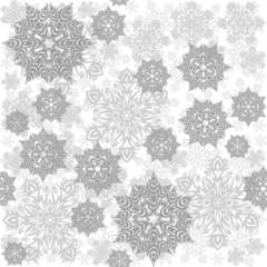 Fototapeta szare koronkowe płatki śniegu zimowy deseń na jasnym tle