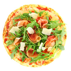 Tasty pizza with prosciutto ham and rocket