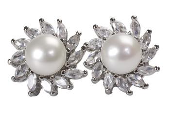 Close-up of pair of pearl earrings