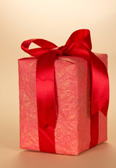 The gift box decorated with ribbon and bow