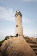 Lighthouse on the rock at Mahabalipuram, Kanchipuram District, Tamil Nadu, India