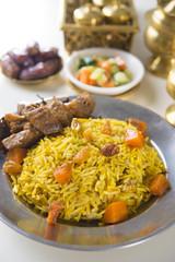 Uzbek national dish plov on plate