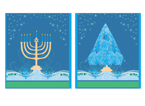Pair of Happy Holidays! cards with Christmas tree and Channuka c