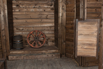Interior of a old wooden shed
