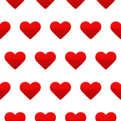 Red heart seamless pattern white background