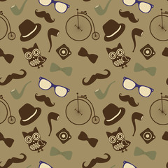 Hipster Retro Vintage Seamless Pattern