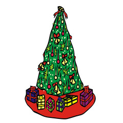 Tree gifts vector illustration