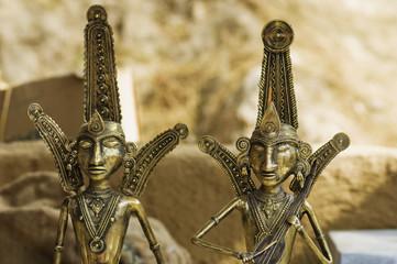 Antique metal sculptures at souvenir shop