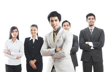 Portrait of five business executives