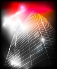 City building with illumination. Vector illustration.