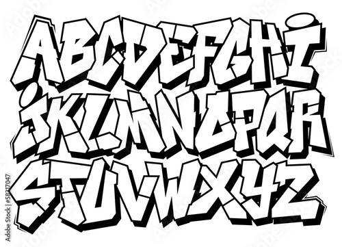 Classic street art graffiti font type vector alphabet for Mobel 9 buchstaben