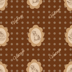 Seamless vintage Pattern with mouse and cake