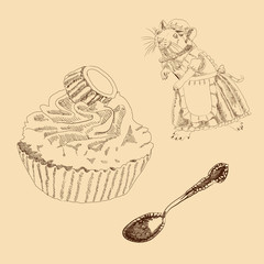 Vintage Set of Mouse, Spoon and Cake