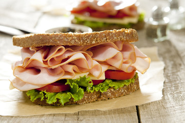 Closeup of a classic ham and cheese sandwich.