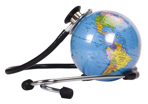 Close-up of a globe with a stethoscope