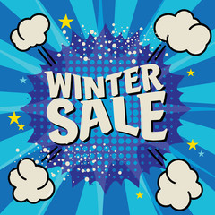 Winter sale poster, vector