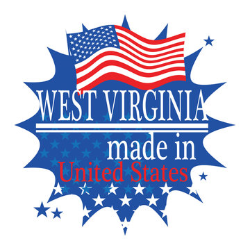 Label with flag and text Made in West Virginia, vector