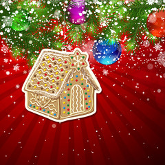 Background with Christmas decoration and snowflakes, illustratio