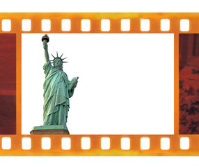 vintage old 35mm frame photo film with NY Statue of Liberty, USA