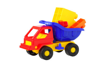 toy truck with building cubes