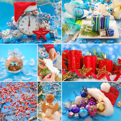 collage with christmas decorations