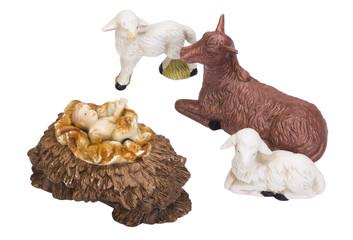 Figurines of animals near baby Jesus